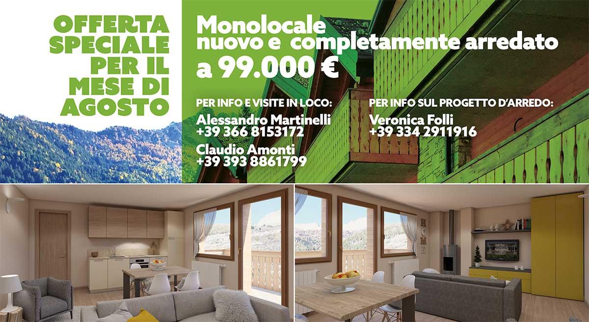 Residenza Fior di Bosco a Temù, monolocale in offerta per il mese di agosto 2019
